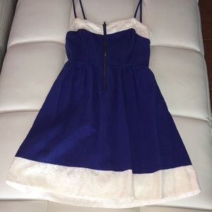 Cute, Short Blue Dress with Cream Lace
